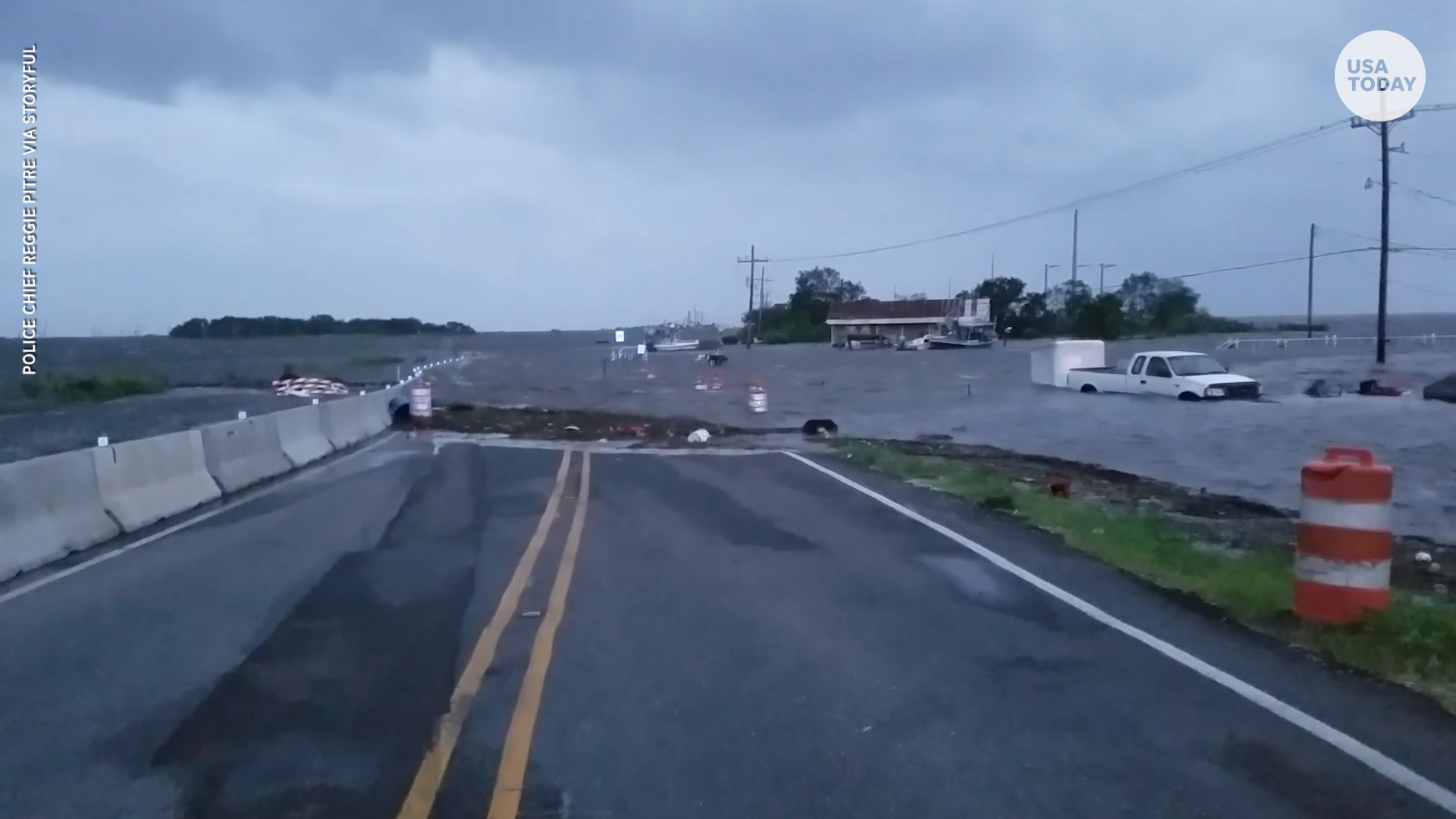 Hurricane Barry floods road in Louisiana