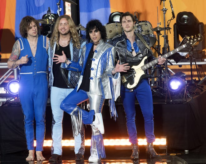 "(L-R) Gethin Davies, Adam Slack, Luke Spiller and Jed Elliot of The Struts performs on ABC's ""Good Morning America"" at SummerStage at Rumsey Playfield, Central Park on July 12, 2019 in New York City."