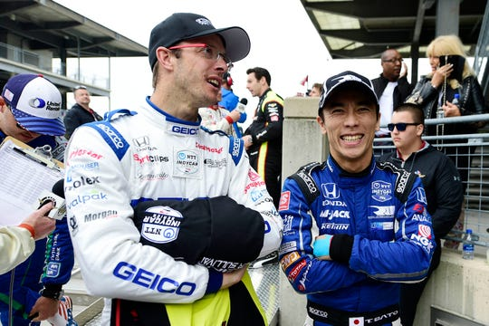Sebastien Bourdais, left, and Takuma Sato had a much friendlier moment before the 2019 IndyCar Grand Prix at Indianapolis Motor Speedway.