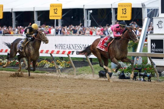 Everfast, shown closing on Preakness winner War of Will in the final yards of the Preakness on May 19, would love a lot of pace to run into in the Preakness.