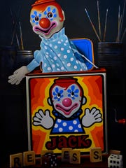 """Larry Hamilton's, """"Jack, It's Time for Recess"""" Oil painting at the Breckenridge Fine Arts Center Thursday."""