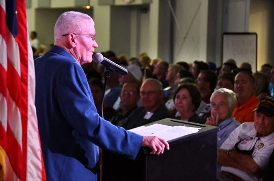 Apollo 13 astronaut Fred Haise was the featured speaker for the Apollo 11 anniversary workers reunion at the Astronauts Memorial Foundation at the Kennedy Space Center Visitor Complex.