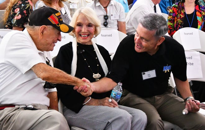 Ike Rigell and his wife, Kathryn, are greeted by KSC Director Bob Cabana. Rigell was chief engineer for NASA launch vehicles. On Sunday more than 600 Apollo-era workers and their families gathered at the Astronauts Memorial Foundation at the Kennedy Space Center Visitor Complex for the Apollo 11 anniversary workers reunion.