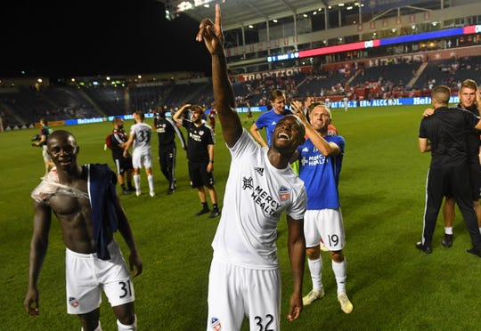 Jul 13, 2019; Chicago, IL, USA; FC Cincinnati defender Justin Hoyte (32) reacts after defeating the Chicago Fire at SeatGeek Stadium. Mandatory Credit: Mike DiNovo-USA TODAY Sports