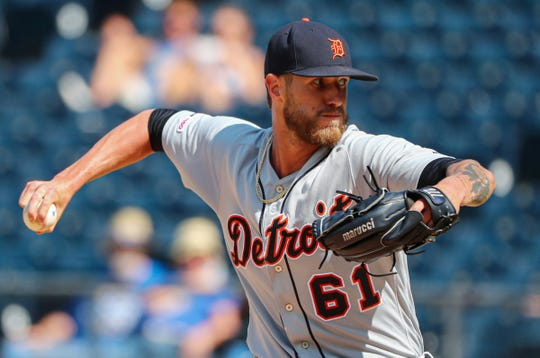 Detroit Tigers closer Shane Greene pitches against the Kansas City Royals during the ninth inning at Kauffman Stadium, July 14, 2019.