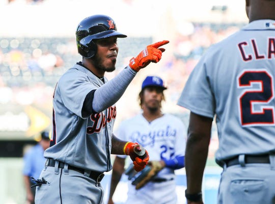 Harold Castro celebrates after hitting a triple against the Royals on July 13.