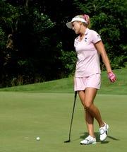Lexi Thompson misses a birdie putt on No. 16 during the LPGA Marathon Classic on Saturday.