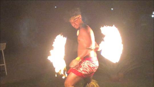 Fire-dancer during one of the performances at a resort in Samoa, July 13, 2019.