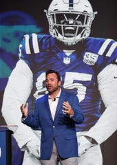 Former Indianapolis Colts center Jeff Saturday, in Indiana for the Indiana Derby on Saturday night, fully expects Andrew Luck to earn MVP honors. He is shown in Indianapolis in May, attending the Colts Town Hall Meeting.