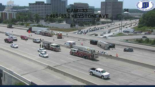 A multi-vehicle crash has closed all lanes of westbound I-465 near Keystone