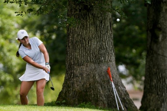 Ally Ross chips on hole 16 during the Women's City Golf Tournament, Sunday, July 14, 2019 at Coyote Crossing Golf Course in West Lafayette.