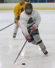 Joey Verkerke of Amherst College is one of 15 NCAA Division III players in the Made in Michigan Hockey Elite League at Kensington Valley Ice House in Brighton.