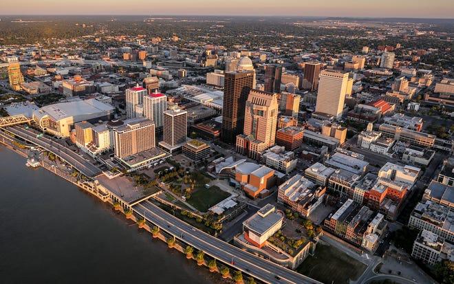 Downtown Louisville.  Louisville skyline. July 12, 2019
