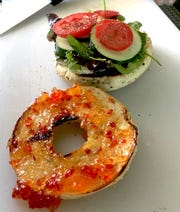 Bangos Food Truck's veggie breakfast sandwich, Saturday July 13, 2019, outside Brew Cafe at 610 N. Creyts Road, Lansing, Michigan.