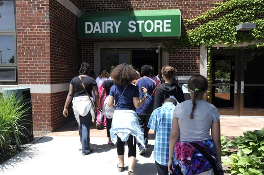Cleveland Elementary School (Port Huron) fifth graders walk through the MSU campus in East Lansing on their way for ice cream at the MSU Dairy Store in 2013.