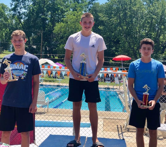 Ashland's Rylan McDaniel found himself atop the awards platform four times, and set a record in the boys 13-14 50 breast, at the GMAC Championships.