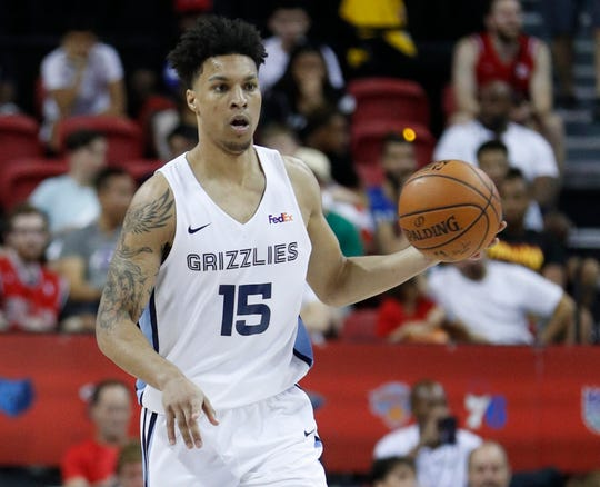 The Grizzlies' Brandon Clarke plays against the Celtics in an NBA summer league game Thursday.