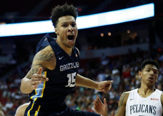 The Grizzlies' Brandon Clarke reacts after scoring against the Pelicans during overtime of an NBA summer league game Sunday.