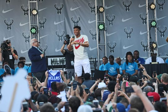 Giannis joined a packed crowd in front of Fiserv Forum in July to celebrate his MVP award for the 2018-19 season.