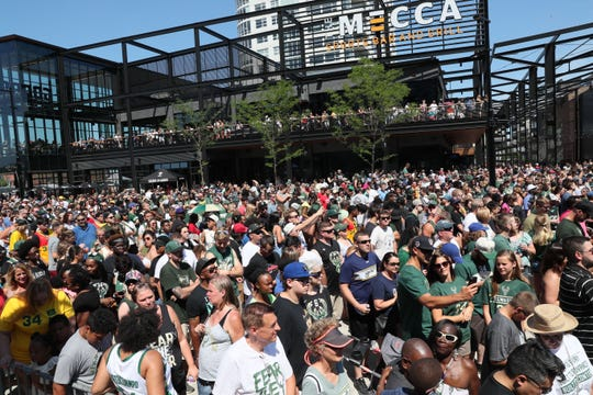 Part of the huge crowd that filled the plaza to see Giannis Antetokounmpo during the Giannis MVP Celebration on the plaza at Fiserv Forum on Sunday.