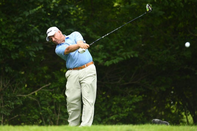 Scott Parel (shown in an earlier tournament) has a one-stroke lead after three rounds in the Senior Players Championship.