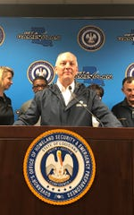 Gov. John Bel Edwards discusses the impact of Tropical Depression Barry during a Sunday press conference.