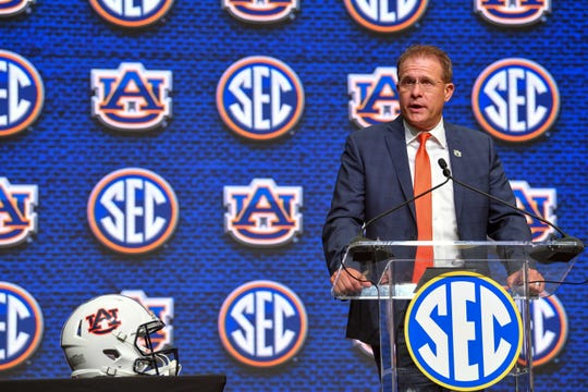 Auburn head coach Gus Malzahn speaks at SEC Media Days in July 19, 2018, in Atlanta.