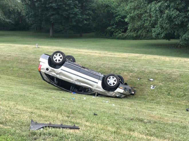 An Anderson man was killed Sunday afternoon when his vehicle left Ind. 67 east of Daleville and overturned.