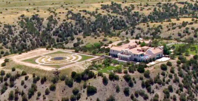 Jeffrey Epstein's Zorro Ranch in Stanley, N.M. is shown Monday, July 8, 2019. Epstein is entangled in two legal fights that span the East Coast, challenging his underage sexual abuse victims in a Florida court hours after he was indicted on sex trafficking charges in a separate case in New York.