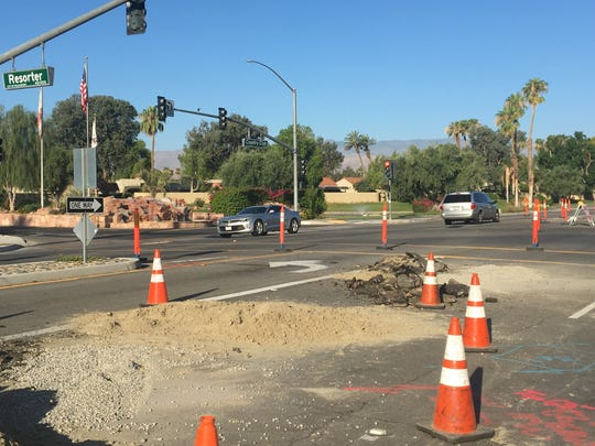 A drainage project is affecting traffic on Country Club Drive, between Tamarisk and Park Center Drive, in Palm Desert. It's one of several projects happening in the city this year.