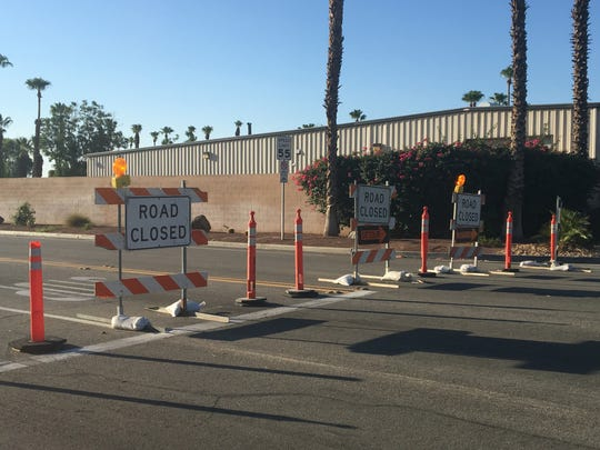 This photo from July shows a road closure at Tamarisk Row in Palm Desert for a drainage project. It's among several road closures in place across the Coachella Valley this week.