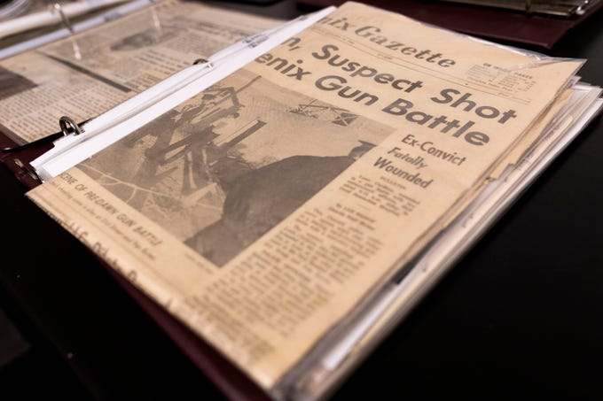A Phoenix Gazette newspaper clipping from Oct. 15, 1966 recounts the day Manny Quiñonez was shot by Louis Cordova. Cordova was killed by another officer.