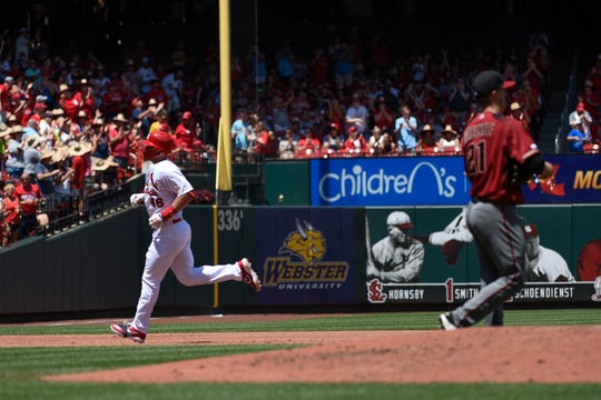 Jul 14, 2019: St. Louis Cardinals first baseman Paul Goldschmidt (46) rounds the bases after hitting a 2 run home run against the Arizona Diamondbacks during the third inning at Busch Stadium.