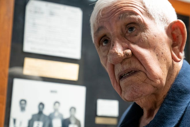 Retired Phoenix police Lt. Manny Quinonez looks at an exhibit about Ernesto Miranda at the Phoenix Police Museum on July 8, 2019. Quinonez met Miranda during an undercover drug buy in 1959.