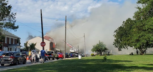 Fire crews are at the scene of a structure fire on Boundary Avenue in Red Lion on Sunday, July 14, 2019.