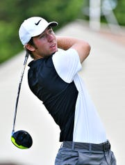 Central York High School graduate Joe Parrini, who currently attends University of Arizona, tees off on the tenth hole while competing against Bob Ruby, of West York Borough, in a playoff during the York County Men's Amateur Championship at Out Door Country Club in Manchester Township, Sunday, July 14, 2019. Parrini would win the championship title. Dawn J. Sagert photo