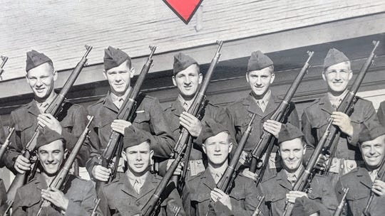 Jack Baumbach, marked with the red arrow, during boot camp at Parris Island in 1942. Baumbach, 97, is a WWII vet and Marine who served at Iwo Jima.