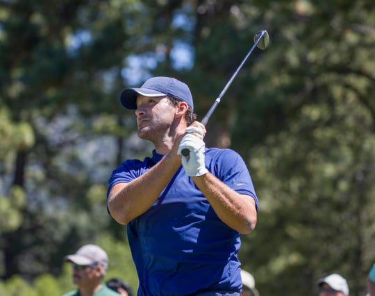 Tony Romo hits a tee shot on the 6th hole during the ACC Golf Tournament at Edgewood Tahoe Golf Course in South Lake Tahoe on Sunday, July 14, 2019.