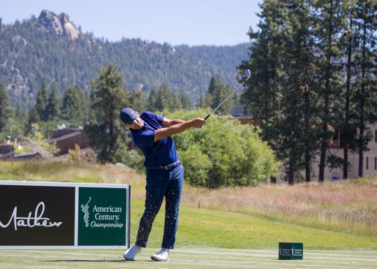 Tony Romo hits a tee shot on the 5th hole during the ACC Golf Tournament at Edgewood Tahoe Golf Course in South Lake Tahoe on Sunday, July 14, 2019.