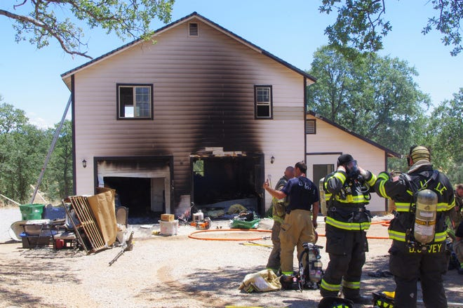 It took firefighters about 10 minutes to knock down a fire Sunday that broke out at a home on Yuki Yama Lane east of Redding and just north of Highway 44.