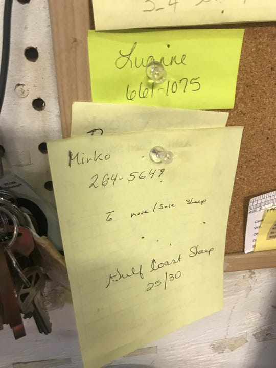 A note left by Mirko Ceska at Ashley's Feed offers to move or sell sheep