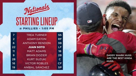 Nationals' lineup Sunday vs. Phillies.