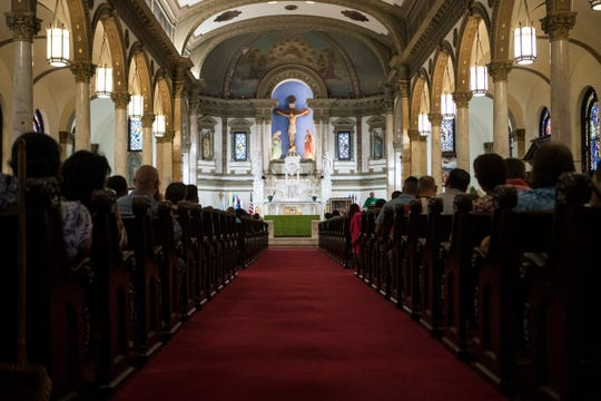 Sunday Mass at St. Paul's Catholic Church in Wilmington, Del.