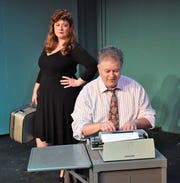 "Jullian Von Gunten and Steve Hendershott rehearse a scene from ""City of Angels"" for the Zanesville Community Theatre."