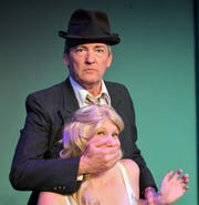 """Todd Lemmon and Sarah Gantzer rehearse a scene from """"City of Angels"""" for the Zanesville Community Theatre."""