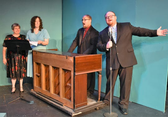 """Nancy Cain, Christy Rahrig, Kevin Rahrig and Aaron Staley rehearse a scene from """"City of Angels"""" for the Zanesville Community Theatre."""