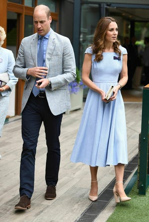 Prince William and Duchess Kate arrive on Sunday ahead of the men's singles final at Wimbledon.