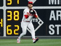 Bryce Harper fires insane 310-foot throw from right field to third base for out vs. Nationals