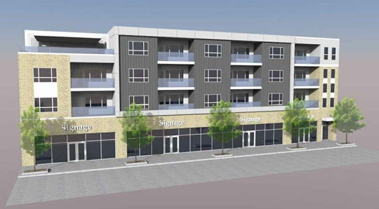 A developer plans to construct a four-story, mixed-use building in the 800 block of West College Avenue.