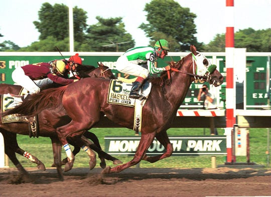 Point Given (No. 6), shown winning the 2001 Haskell Invitational. was Hall of Fame trainer Bob Baffert's first Haskell winner.